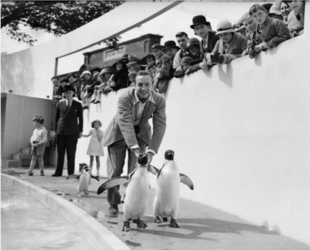 Thirty years before Mary Poppins, Walt with penguins at the London Zoo on June 13, 1935!