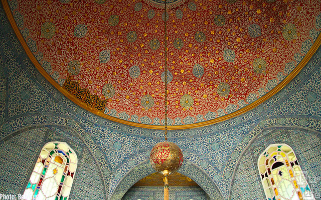 The tile ceilings are typical of Islamic craftsmanship