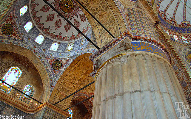 Beautiful tile ceiling of the Istanbul Blue Mosque