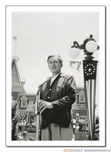 July 17, 1955 was an exciting day for Walt Disney. After giving the dedication speech for Disneyland in Town Square, Walt presided over the opening of his theme park in a live television broadcast on ABC - the largest live telecast ever attempted. Here we see Walt rehearsing his speech prior to the opening, for which he changed into a suit.