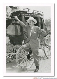"""The stage coach for Disneyland was built at the Walt Disney Studio in Burbank, California, and here Walt Disney takes it for a spin around the Studio lot to the surprise and amusement of his staff. A stage coach ride would be one of the highlights of Frontierland, where it remained for four years."""
