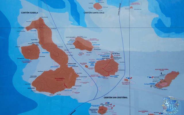 Map of the Galapagos Islands located 600 miles west of Ecuador