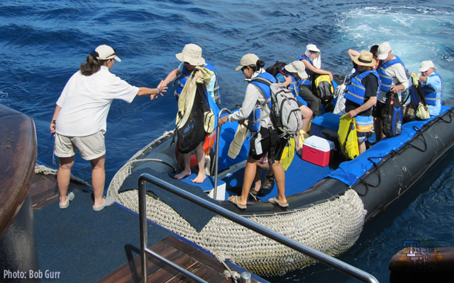 Guests debark from the Xpedition into Zodiak boats for exploration