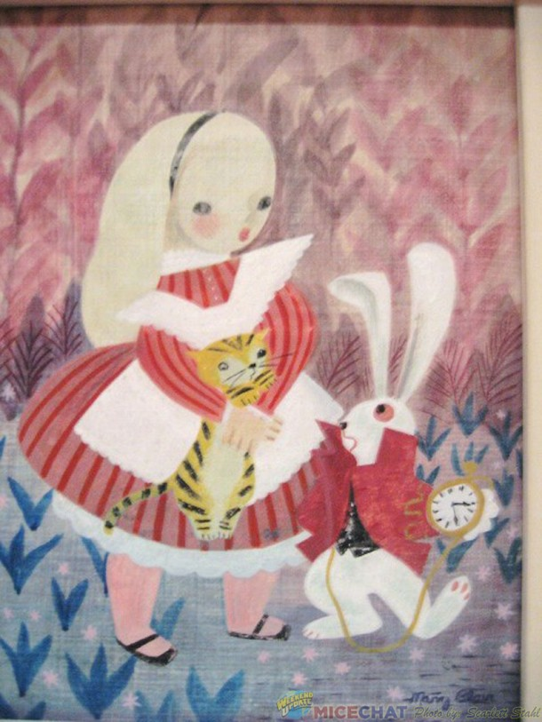 Lillian Disney painting of Alice in Wonderland dressed in red
