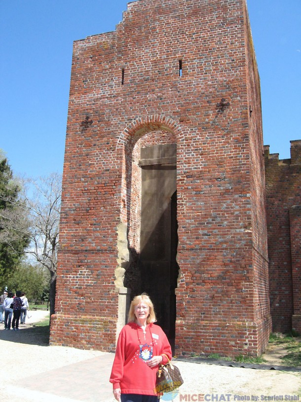 Scarlett in front of the present church