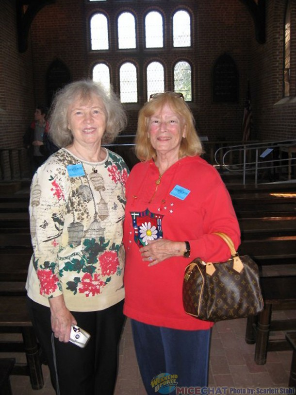 Carol Burgen and Scarlett inside the church