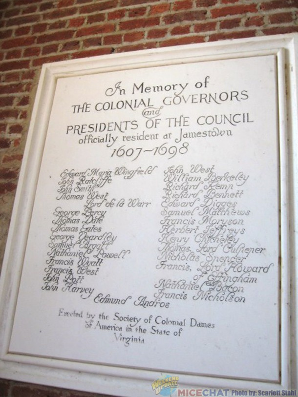 Plaque of Governors of Virginia. The 3rd name from the top on right side is Richard Bennett, Scarlett's ancestor