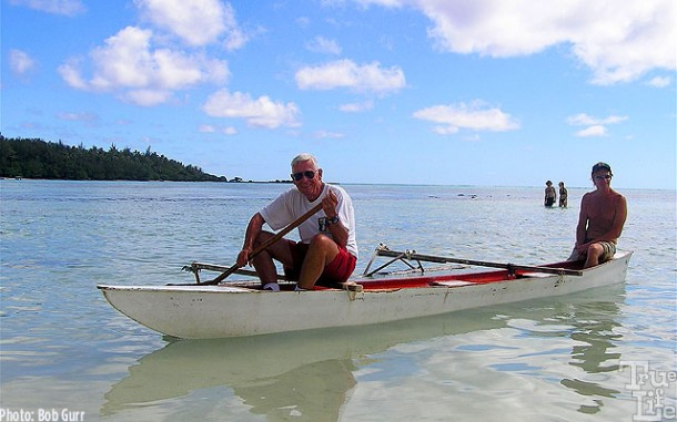 Bob and Fred enjoy a leisurely outrigger excursion