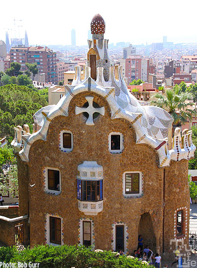 Parc Guell features several tiled roof cottages