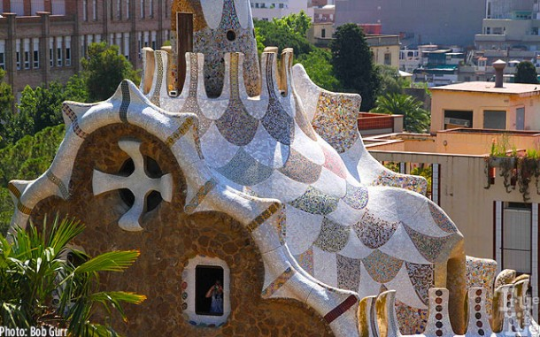 The tile work on this roof is a very beautiful and quilt-like