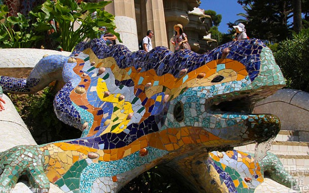 Parc Guell's colorful reptile is world famous - everyone touches it