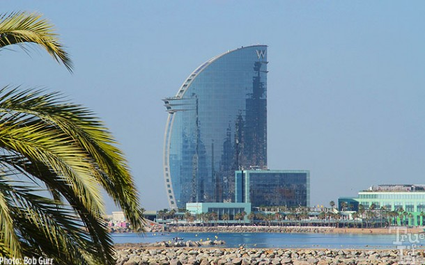 The sail-like W Hotel overlooks the Maremagnum Beach