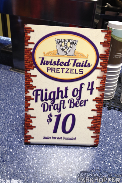 At Twisted Tails Pretzels they're now offering beer flights for $10 plus tax