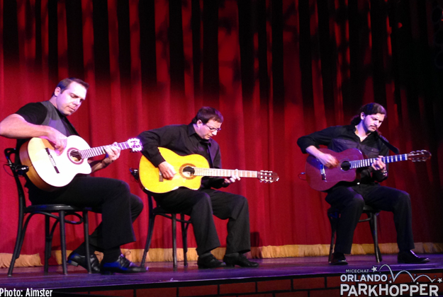 A trio of Flamenco guitarists entertain guests at the Paintopia Grill between performances of Burn the Floor: Untapped