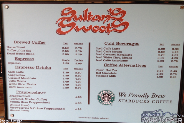 Sultan's Sweets has been serving Starbucks coffee for several years. Prices pretty much the same as your local Starbucks too.