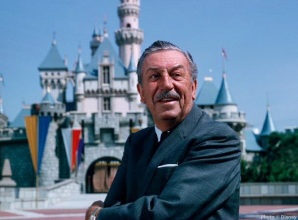 Walt Disney in front of Sleeping Beauty Castle