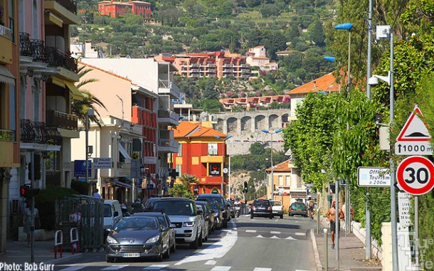 Travel from Villafranche by tour bus provides close up views of the town