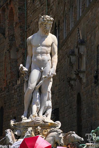 Neptune is a prominent statue in the Piazza della Signoria