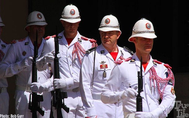 Guardsmen wear classy simple white uniforms