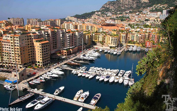 The western Monaco Harbor is tucked tightly into a luxury neighborhood