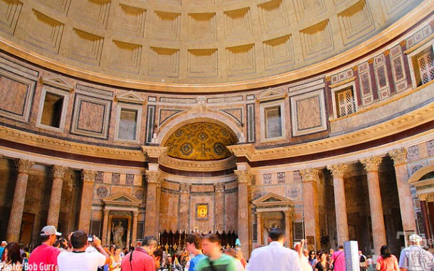 The Pantheon interior has a unique simple beauty of the dome details