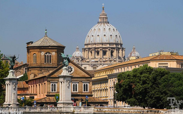 St. Peter's dome is visible from many points in Rome