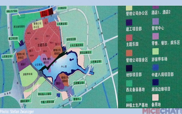 shanghai disney resort layout theme park territory is marked red
