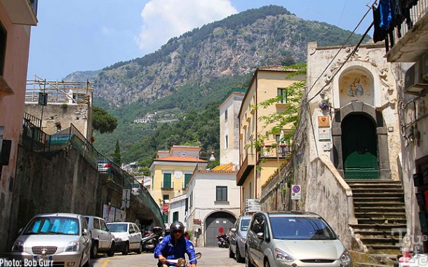 Amalfi is nestled deep within the towering coastal mountains.