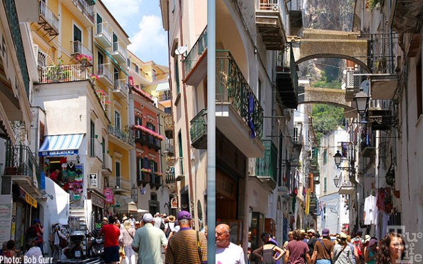 Quaint narrow streets of Amalfi with popular shops and restaurants.