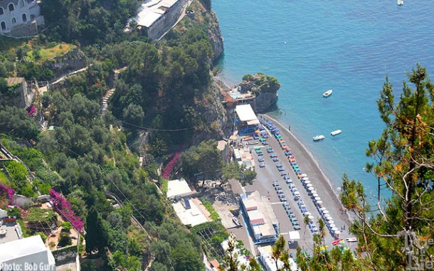 Many private beach resorts are nestled along the Amalfi Coast.