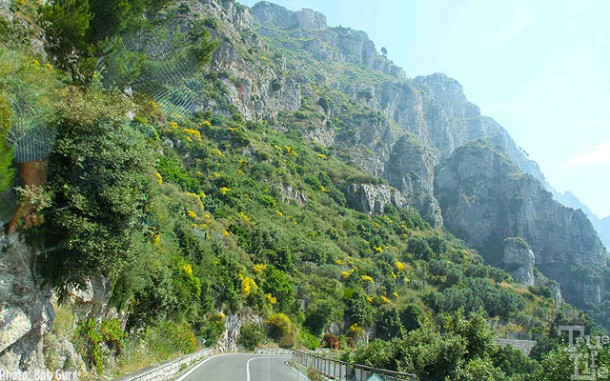 The Amalfi Coast road is carved out of the near vertical cliffs.