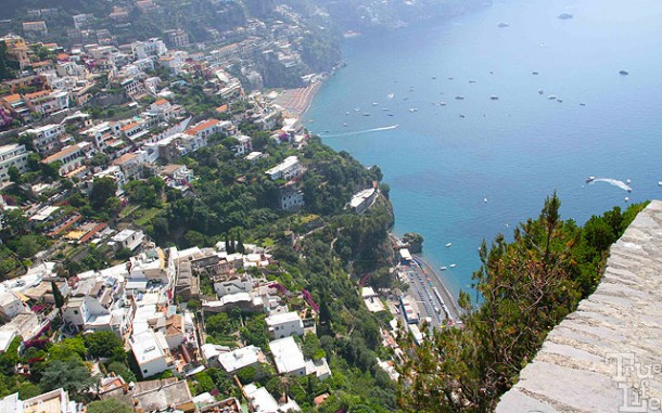 Two beach resorts are located in Positano, a steep hike is needed.