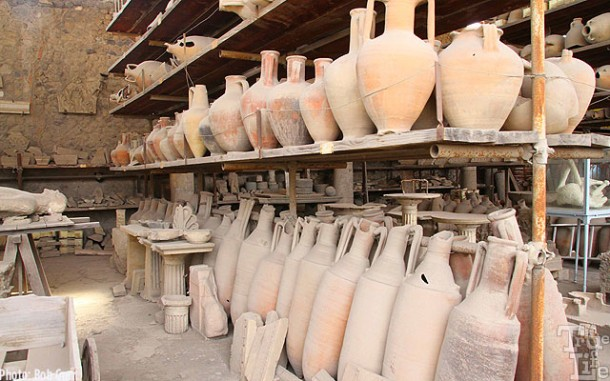 A warehouse of commercial clay food and wine storage flasks.