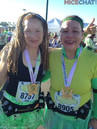 the Race that started it all, Terri and Rachel.                                              Caption 2 –Terri w/ all her medals after the Dopey Challenge this last January.