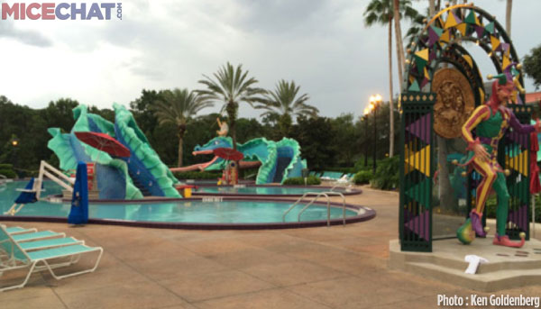 The kids will love the Mardi Gras themed pool area!