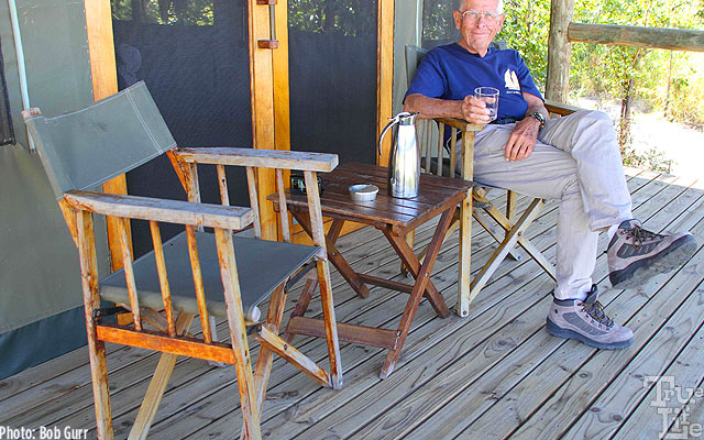 Adventurer Bob has a fabulous wildlife view from the tent porch