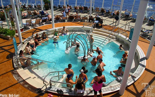 Numerous big Jacuzzis are found everywhere on the top decks.
