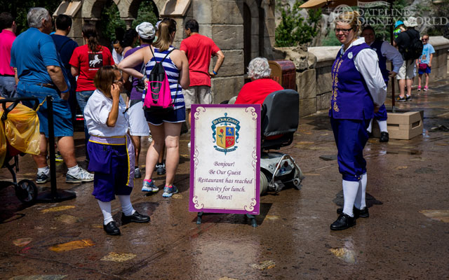 Be Our Guest was at capacity for lunch at 12:15. Probably due to FP+.