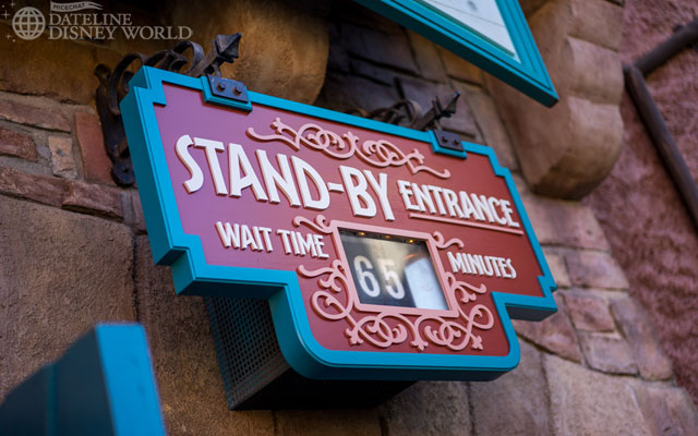 The standby line had gotten up to 65 minutes by the time we finished riding, and hit 130 minutes that day.