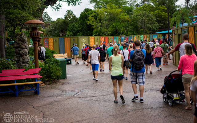 Many construction walls still up at the front of the park.