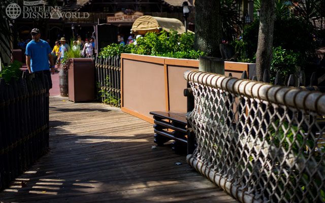 Part of the boardwalk around the Rivers of America is being redone.
