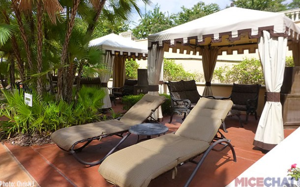 Fresh Private cabana rentals are available by two of the pools