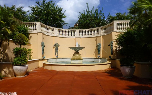 A fountain beside the Villa Pool adds the sounds of water