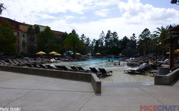 The Beach Pool has a zero entry area, lounge chairs in sand and a DJ