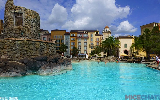 A Fortress themed water slide at the beach pool