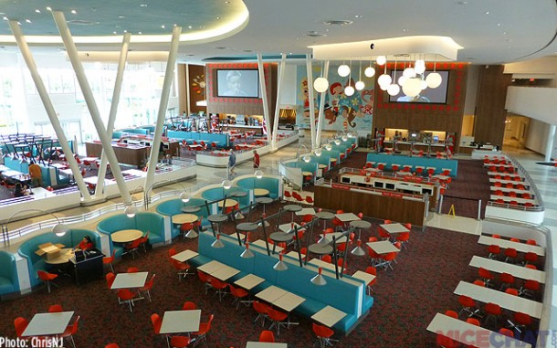 Cabana Bay's large seating area. Spotlessly clean and empty at 2pm