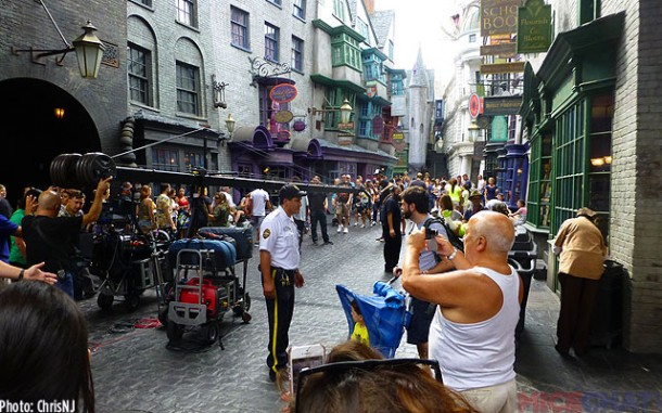 Filming a new Universal Studios commercial in Diagon Alley