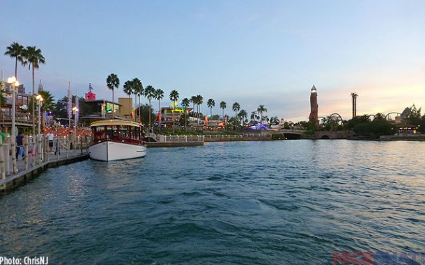 CityWalk's ferry dock with Islands of Adventure in the distance