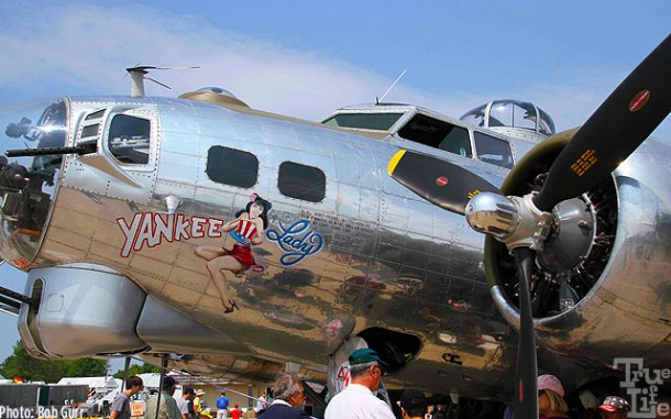 Classic nose art on a famed WWII Boeing B-17 Flying Fortress
