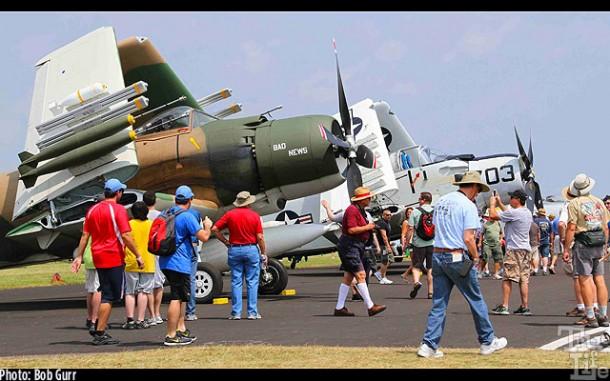 A pair of Vietnam era Douglas AD-1 Skyraider attack bombers